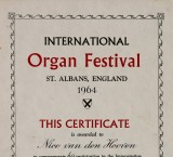 <p>Certificaat International Organ Festival St. Albans, 1964</p>