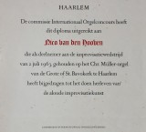 <p>Diploma Internationaal Orgel Improvisatieconcours Haarlem, 1963</p>