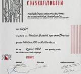<p>Einddiploma Utrechts Conservatorium met onderscheiding, 1962</p>